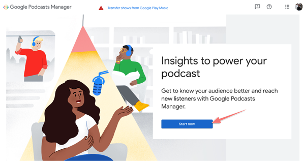 gửi kênh podcast lên Google Podcasts Manager