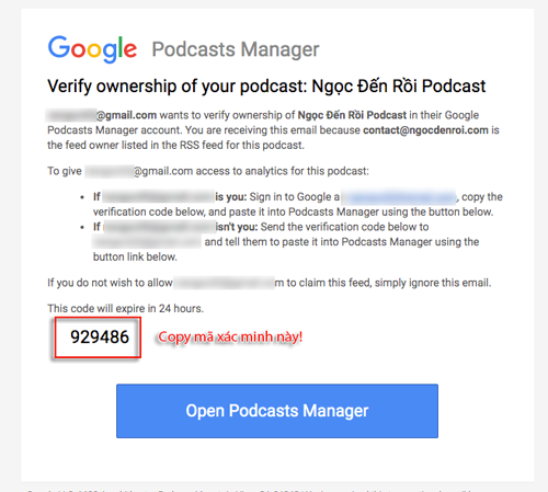 xác minh dịch vụ google podcast manager